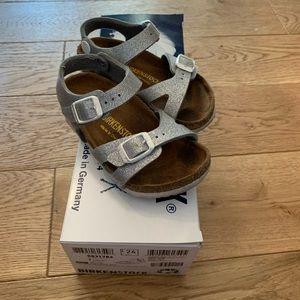 Girls Silver Glitter Birkenstock Sandals US7/EU24